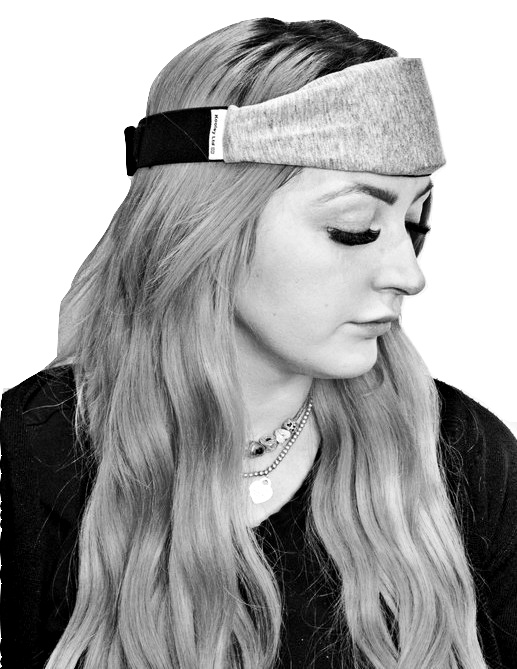 Grey cotton headband with cooling therapy strip